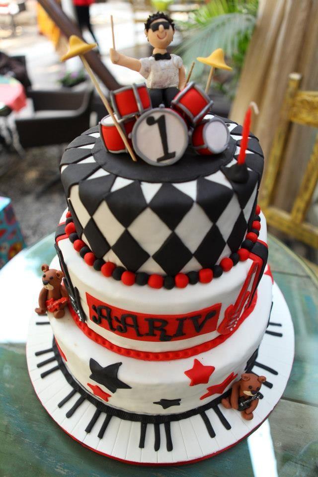 rockstar cake for a baby boy's 1st birthday