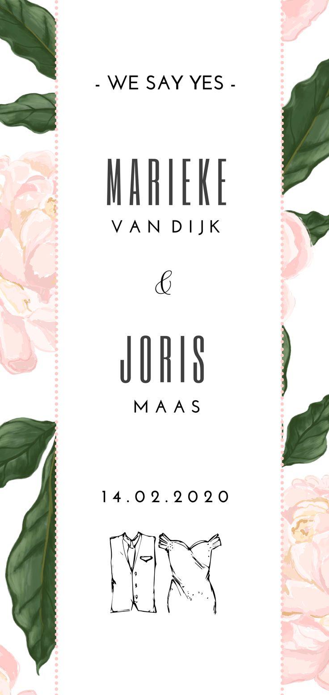 Romantische trouwkaart met getekende rose bloemen.