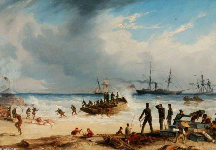 Atterrissage en surf à Algoa Bay, Cap de Bonne Espérance de Thomas Baines (1820-1875, United Kingdom)