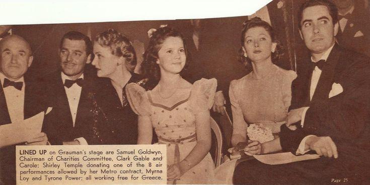 Samuel Goldwyn, Clark Gable, Carole Lombard, Shirley Temple, Myrna Loy and Tyrone Power at Goldwyn's Greek war relief benefit, 1941