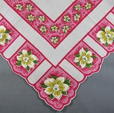 Creamy Ivory Jonquil Flowers on Panels of Pink Vintage Hankie Handkerchief