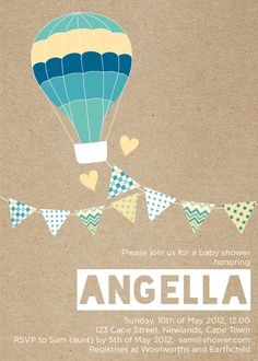 Hot Air Balloon Invitation. Babyshower ...