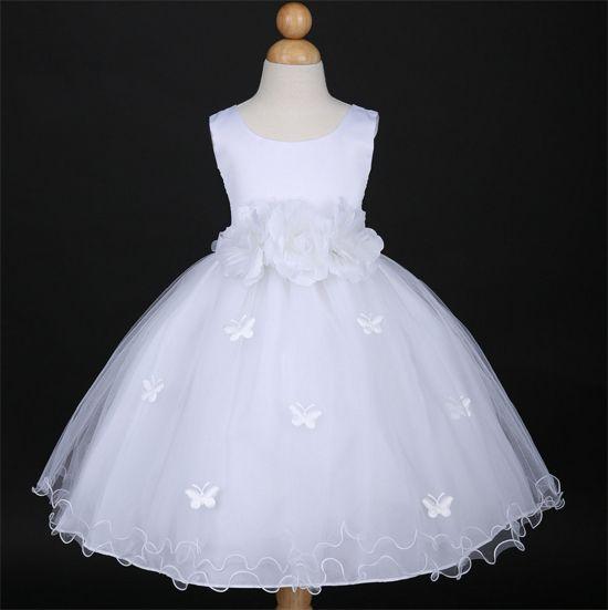 """Θαυμάσιο Λευκό Φόρεμα για Παρανυφάκι, Πάρτυ, Εκδύλωση, Παράσταση με Σατέν Πεταλούδες """"Butterfly"""" - http://www.memoirs.gr/"""