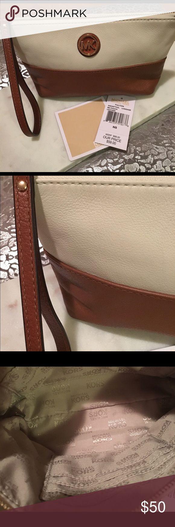 Michael Kors Fulton luggage leather wristlet. Michael Kors Fulton luggage leather wristlet. Michael Kors Bags Clutches & Wristlets