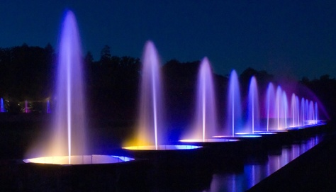 Main Fountain Garden - The Fountains - Beautiful colors at night; the fountains dance to the music.