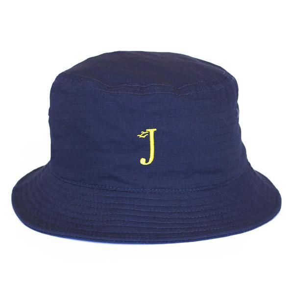 Jack Dusty Clothing - The Navy Alwyn Bucket Hat with a yellow embroidered J and seagulls logo