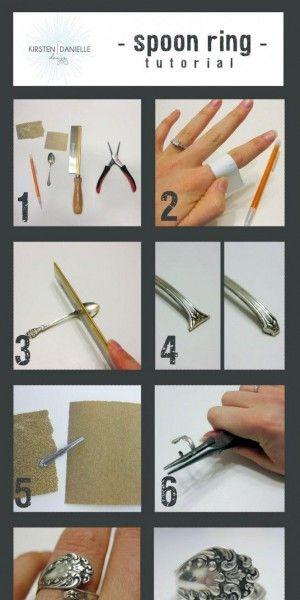 Maak van een oude versierde lepeltje een ring. Wat een leuk idee.
