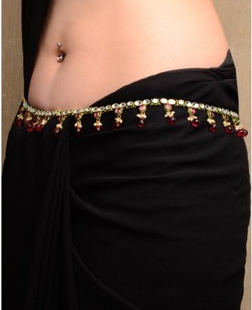 Kundan Stone Encrusted Thin Sari Belt with Red Stone Drop