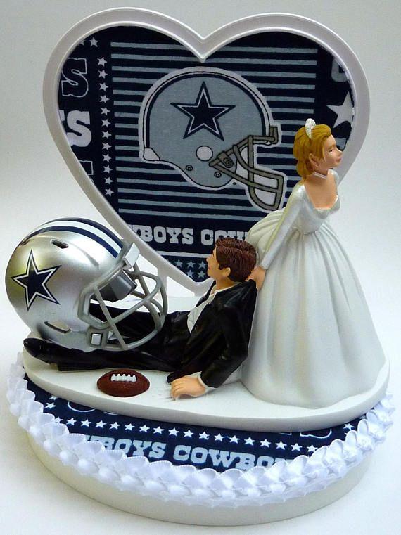 Wedding Cake Topper Dallas Cowboys Football Themed w/ Garter