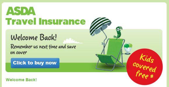 Welcome Back Banner from Asda Travel Insurance #Web #Banner #Digital #Online #Marketing #Travel #Insurance #WelcomeBack #ReturningCustomer