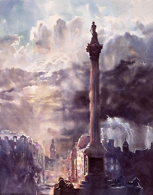Nelson's Column, Trafalgar Square, London - large-scale watercolour by Wayne Roberts