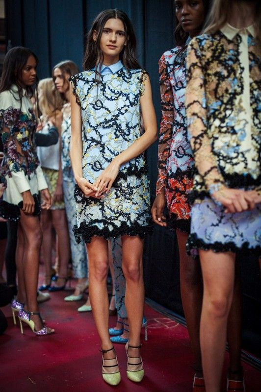 Squiggly texture backstage at Mary Katrantzou SS15 LFW. More images here: http://www.dazeddigital.com/fashion/article/21719/1/mary-katrantzou-ss15