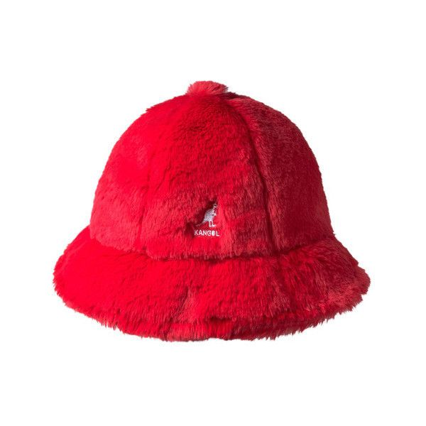 Kangol Faux Fur Casual Bucket Hat ($65) ❤ liked on Polyvore featuring accessories, hats, red, red striped hat, crown hat, faux fur bucket hat, cocktail hat and kangol