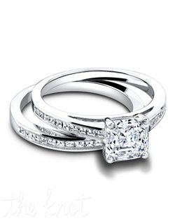 Jeff Cooper Engagement Ring and Wedding Ring.  Princess cut