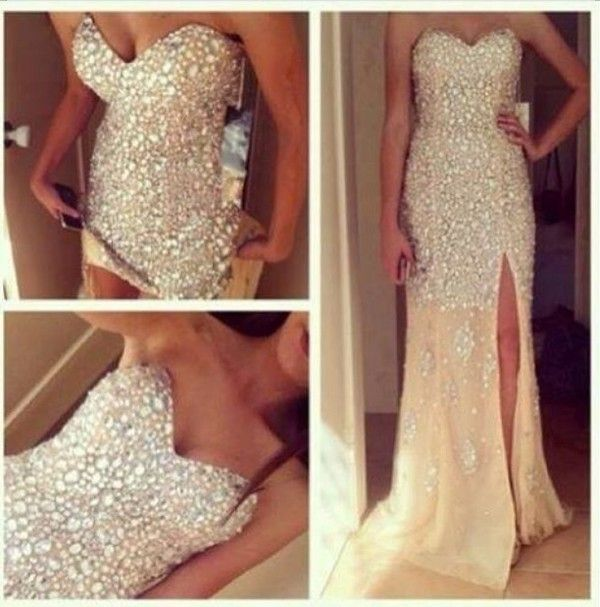 Dress: glitter gorgeous white bling nude, gold, diamond, glitter, long , slit, grad pretty formal