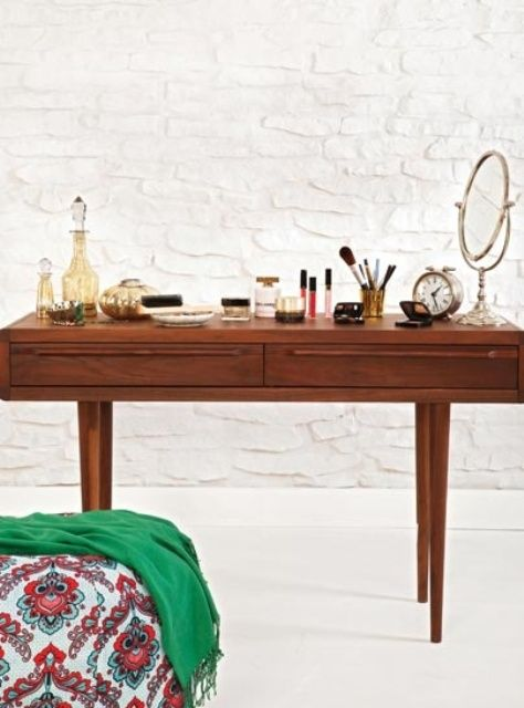 30 cool midcentury dressing tables and vanities 30 cool mid century dressing tables and vanities with white brick wall and wooden dressing table and
