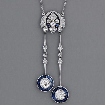 Art Deco Old Mine-cut Diamond Necklace