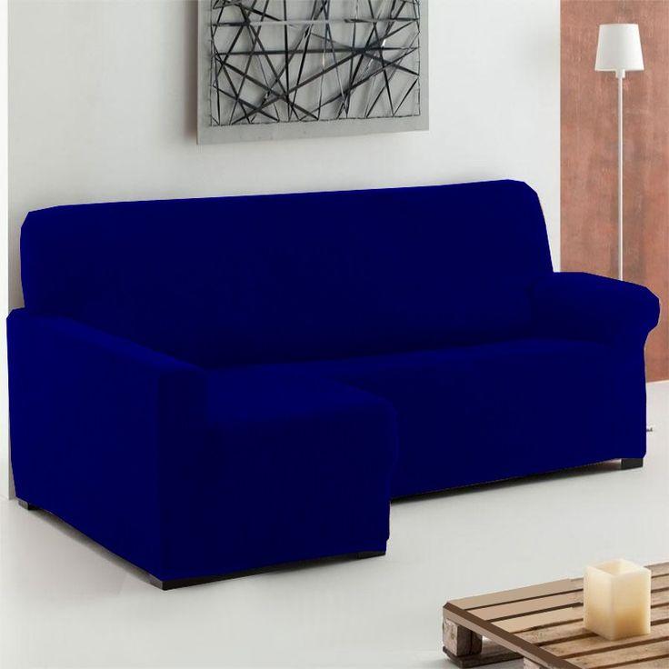 Fundas Chaise Longue Elástica Azul Marino TÚNEZ, adaptable y ajustable a cualquier sofá chaise longue de 240 a 280 cm, garantía de satisfacción, perfecta colocación y ajuste perfecto al sofá.