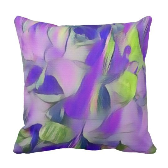 Heavenly Rose Petals Abstract - Purple Throw Pillow