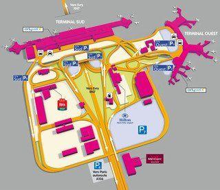 Carte du terminal et de l'aeroport Paris Orly (ORY)