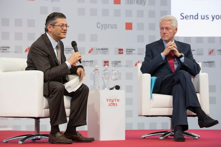Confronting the serious challenges around youth unemployment in Europe, President Bill Clinton and His Royal Highness the Prince of Asturias addressed more than 200 government officials, business executives, academic leaders and students during the Laureate Summit on Youth & Jobs at the Universidad Europea in Madrid, Spain.