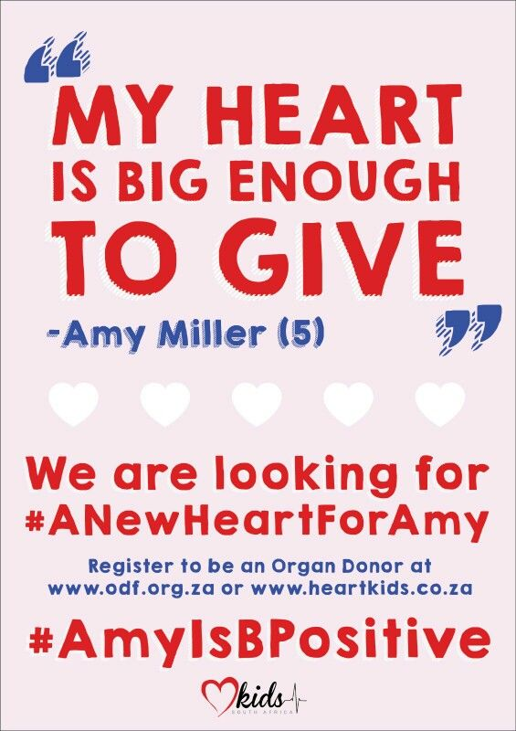 Is your heart big enough to give? #ANewHeartForAmy #AmyIsBPositive www.heartkids.co.za