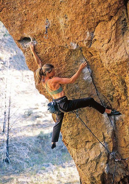 Lisa Hensel on Toxic (5.11b) Smith Rock, OR. Photo Ben Moon.