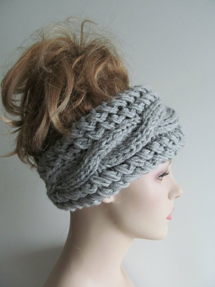 Grey Cable Headbands Knit Ear Warmers Button Gray Fall by Lacywork, $35.99