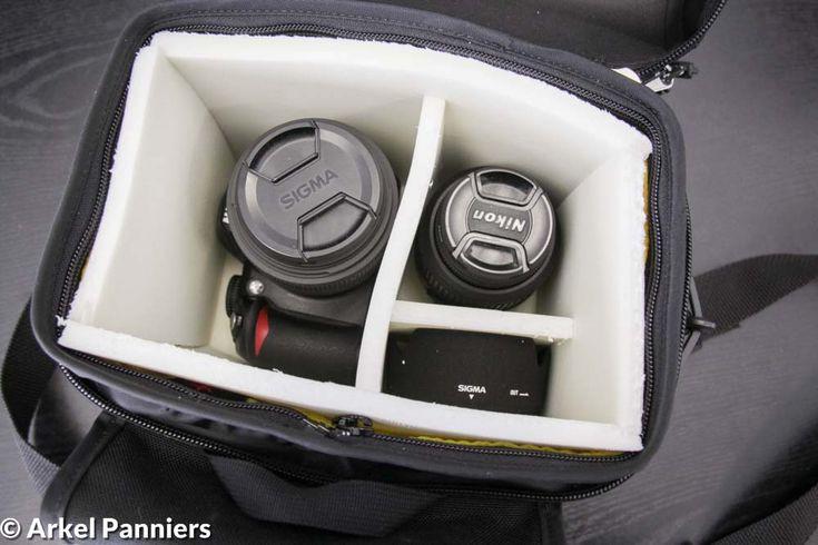 Camera inside Arkel handlebar bag with protective padding