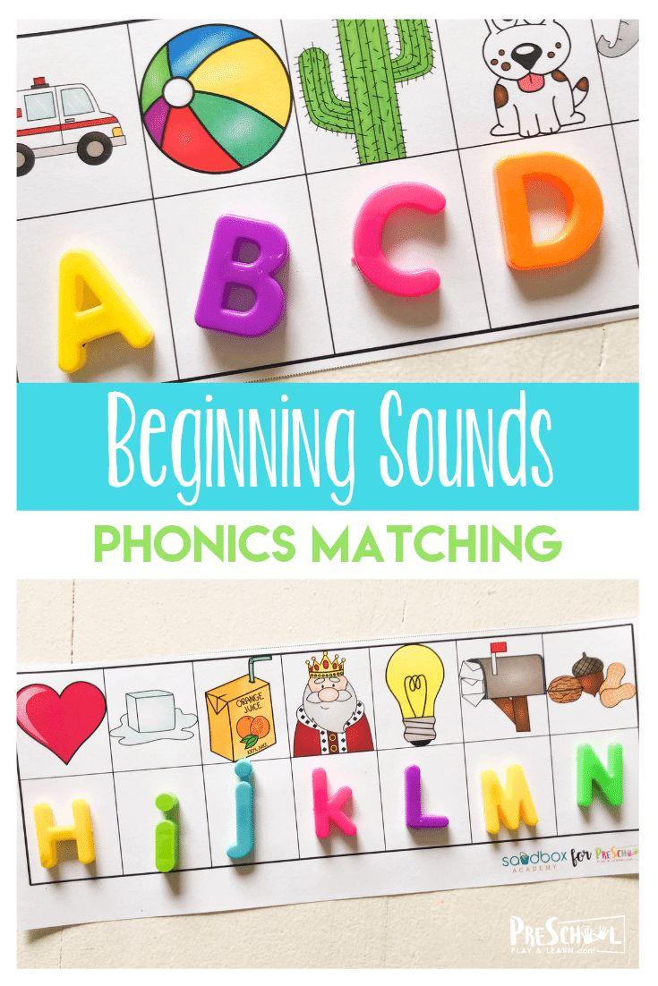 FREE Beginning Sounds Phonics Game preschoolers will