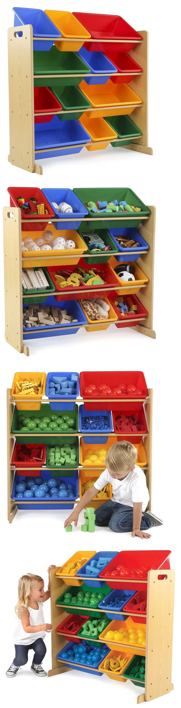 Storage Units 134651: Tot Tutors Kids Toy Storage Organizer With 12 Plastic Bins, Natural Primary (Pr -> BUY IT NOW ONLY: $68.21 on eBay!