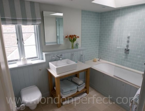 New England Style Bathroom In London Pale Blue Tiles