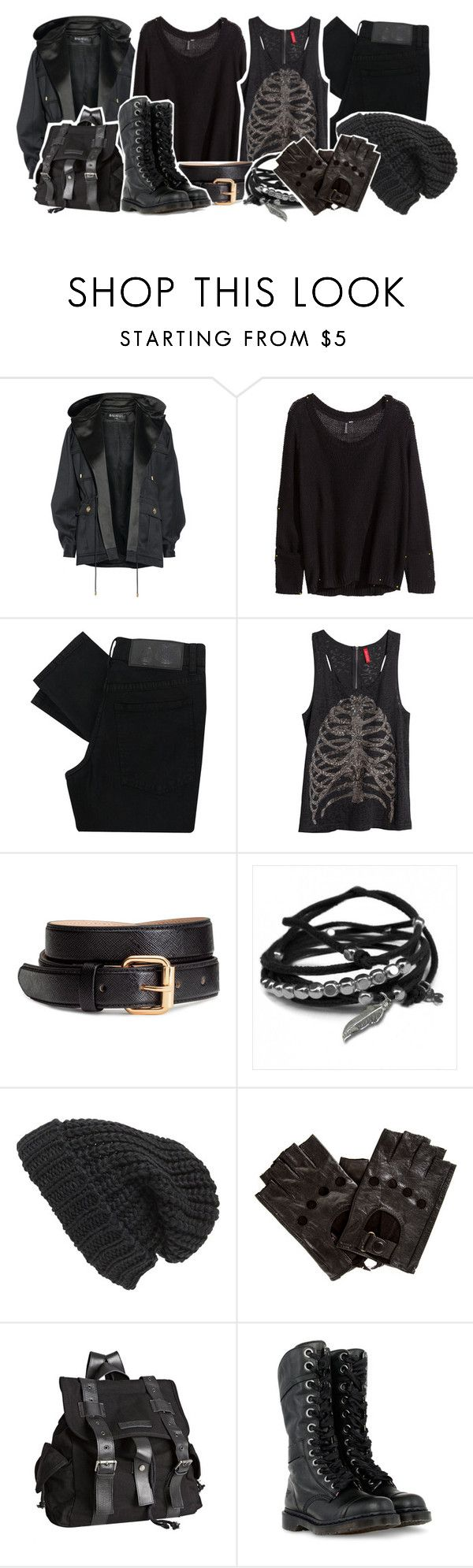 """""""Camp Half Blood: Denying your roots"""" by saffire9975 ❤ liked on Polyvore featuring Balmain, H&M, Cheap Monday, Gag & Lou, Phase 3, Joe's Jeans and Dr. Martens"""