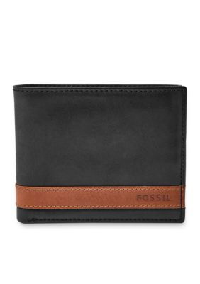 Fossil Men's Quinn Leather Bifold With Flip Id Wallet - Black - One Size