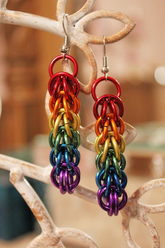 Rainbow Chainmail Earrings by ThingsByElliott