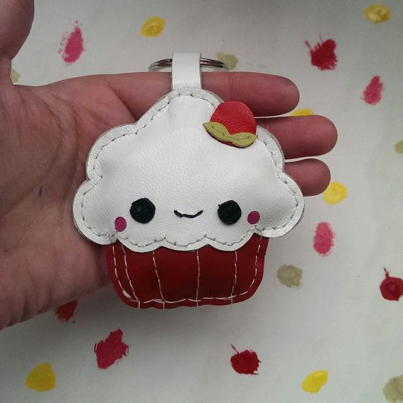 Kawaii Keychain, Kawaii Cupcake, Designer Keyrings, Leather Keychain