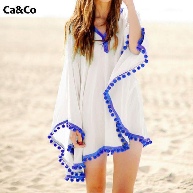 Loisir Pareo Praia Capa Ups Mulheres Vestido de verão 2016 Praia Kaftan Túnica de Algodão Com Decote Em V Maiô Beachwear Maiô Capa Ups
