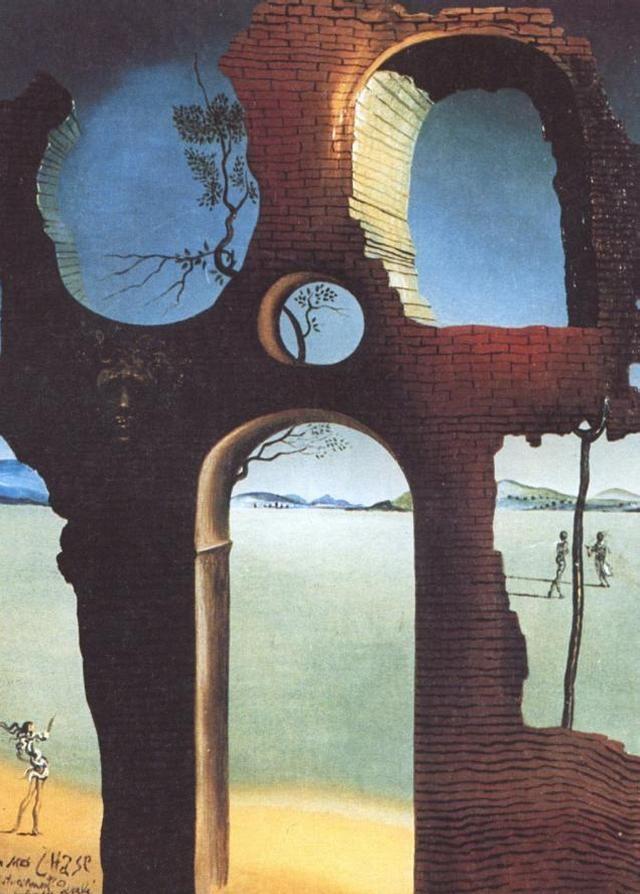 Salvador Dali >> Ruin con la cabeza de Medusa y el Paisaje