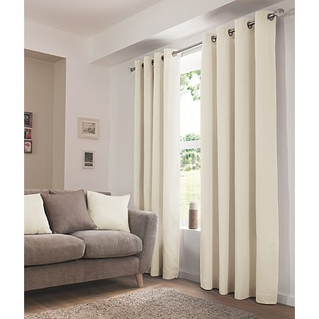 George Home Plain Cream Eyelet Curtains