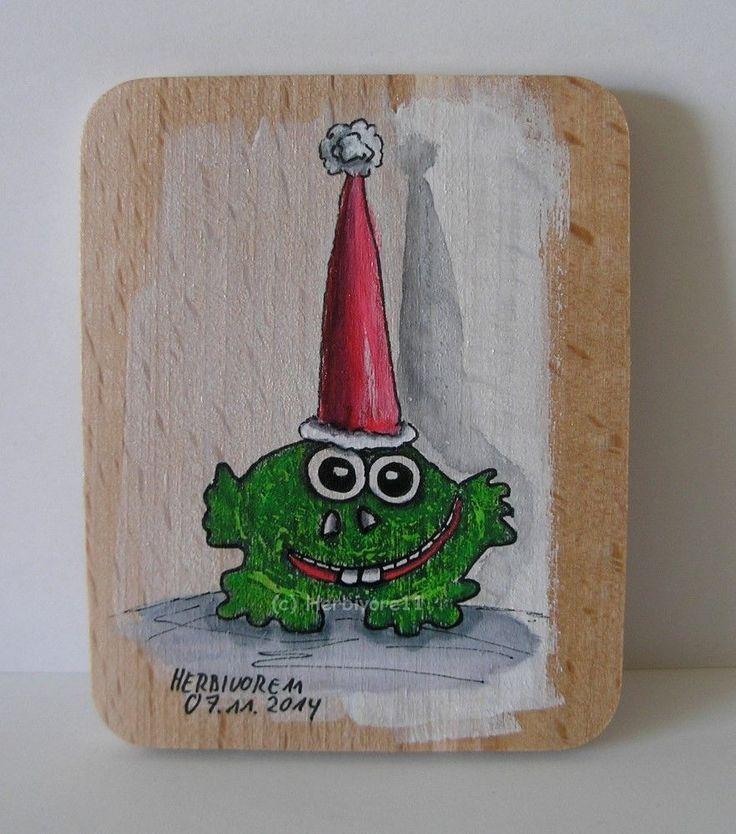 WEIHNACHTSFROSCH von Herbivore11 Stempel Frosch Frösche Weihnachten Bild Holz
