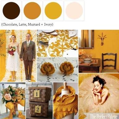 Fall color collection of chocolate brown, latte, mustard, and ivory  *details/ideas include woven baskets to hold programs and favors, and a mustard-tinted wedding gown