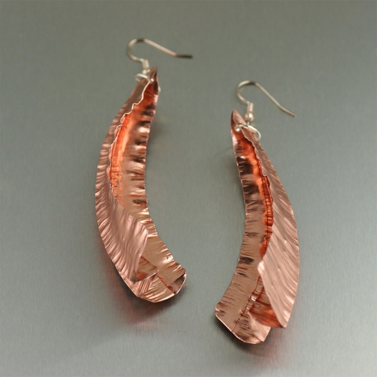 Exotic and simply stunning! These #Fold #Formed Chased #Copper Leaf #earrings are sure to be a hit.Form Chase, Chase Copper, Leaf Ears, Handmade Copper Jewelry, Form Jewelry, Folding Form, Metals Jewelry, Leaf Earrings, Copper Leaf