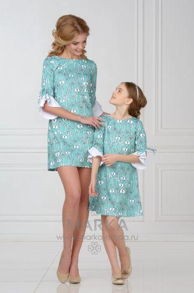 Комплект платьев 70-92-200/701-92-200 | MARK'A- одинаковая одежда для мамы и дочки