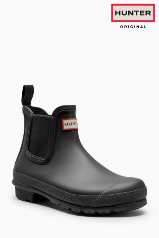 Hunter Original Black Chelsea Tab Matte Welly
