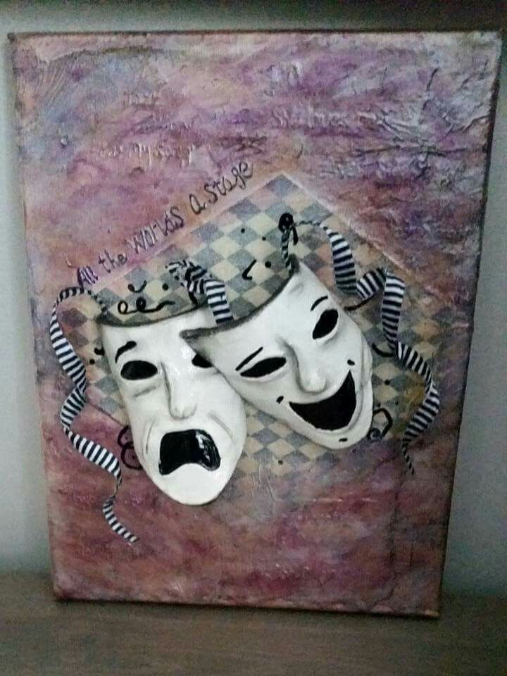 A gift I was asked to make for a very talented young lady. Two clay theater masks on mixed media distressed canvas. I wrote with wet clay some of the plays she has been in. www.facebook.com/bloominclay