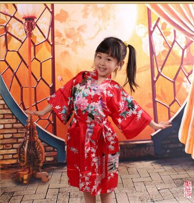 RB009 Peacock Kids Robe Satin Children Kimono Robes Bridesmaid Flower Girl Dress Silk children's bathrobe Nightgown Kimono robe