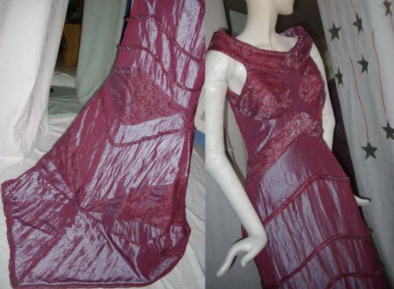 robe longue de cérémonie pièce de collection taffetas bois