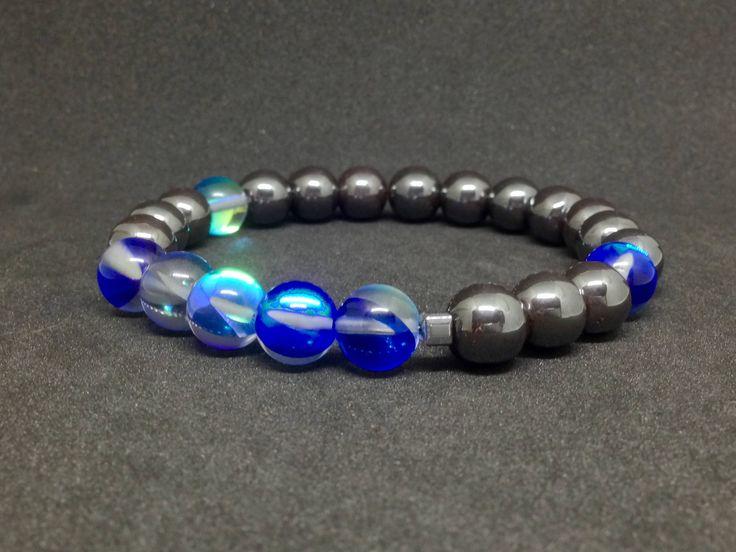 Pulsera de Hematite y Perlas de Vidrio azul,piedras semipreciosas,joyas de hematite,pulseras de piedras,piedras,regalo para hombre,regalos de DeMaiCreaciones en Etsy