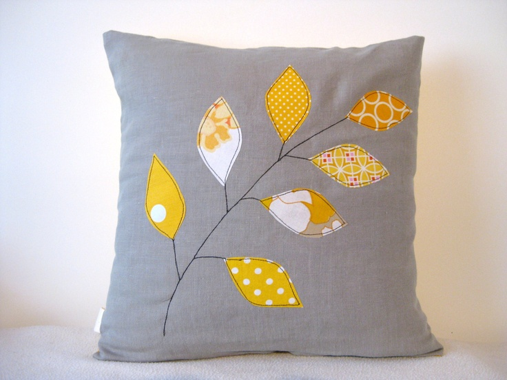 Cushion cover, yellow spring leaves on a branch, free motion applique, cotton…