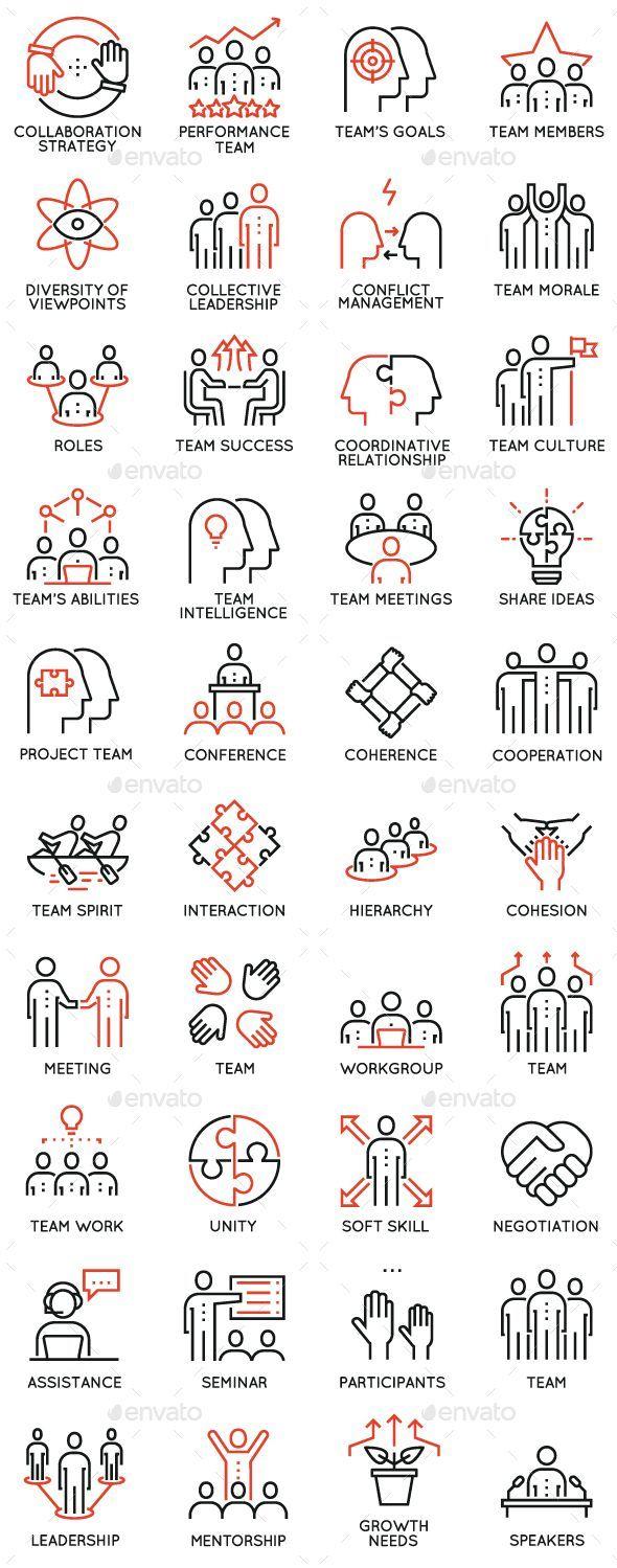 Teamarbeit und Karriere Training Icons – Vector EP…